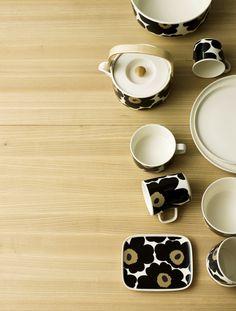 Unikko 50th anniversary tableware, pattern design by Maija Isola for Marimekko, product design by Sami Ruotsalainen for Marimekko.