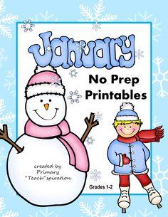 $ January NO PREP winter printables for Common Core skills