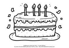 Torta de Cumpleaños para colorear #imprimir #colorear  #Cumpleanos