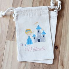 CINDERELLA - Custom Favor Bags - Set of 10 - Choose Size - Text - Colors - prince charming - fairy godmother - castle