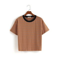 SheIn(sheinside) Contrast Collar Striped Loose T-shirt ($12) ❤ liked on Polyvore featuring tops, t-shirts, khaki, polyester t shirts, khaki t shirt, short sleeve t shirts, loose t shirt and stripe tee