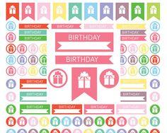 Birthday Planner Stickers Printable Planner stickers Set Stickers Present Stickers Gift Stickers birthday stickers planner stickers icons