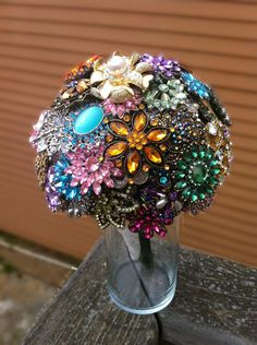 Large Colorful Wedding Brooch Bouquet Blue Pink Green