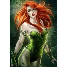 """""""Poison Ivy"""" (Batman) Comic Art Harley Ivy ❤ liked on Polyvore featuring comics and dc"""