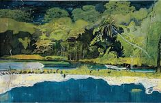 Peter Doig painting,Grande Riviere, 2001/2002,medium dimensions oil on canvas, 230 x 360 cms 90 x 142 in