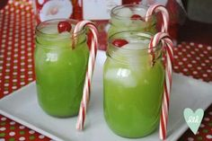 The Grinch!! 3oz. Peach Schnapps 3oz. Malibu Rum 1.5 cp. Orange Juice 3oz. Blue Curacao 4oz. Sprite