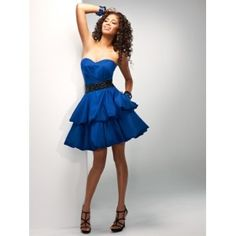 Simply flirty. Strapless short taffeta flows into tiered bubble hems. A pop of beading accentuates the waist and added pockets provide for all your necessities. Corset back closure for the ultimate fit.