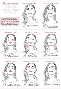 Acupressure face against wrinkles dots image acupressure points instructions - Anti aging - Hautpflege Beauty Make Up, Diy Beauty, Beauty Hacks, Belleza Diy, Face Yoga, Les Rides, Acupressure Points, Fitness Workouts, Bodybuilding Workouts