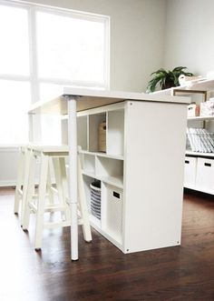 See 20 of the best Ikea Kallax Hacks ideas and the different ways you can DIY them for your home. Use it as a work table for your craft room with added storage! diy ideas 20 of THE BEST Ikea Kallax Hacks to Organize Your Entire Home Ikea Diy, Best Ikea, Storage Spaces, Ikea Hack, Kallax Ikea, Ikea Kallax Hack, Ikea Farmhouse, Home Diy, Craft Room Tables