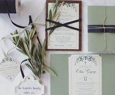 Baptism Invitation • Olive Branch Invitation • Sage Green • Custom Invitation • Tuscan Invitation • Invitation Jacket • Twine Invitation