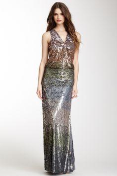 Nicole Miller Hampton Ombre Sequin Dress