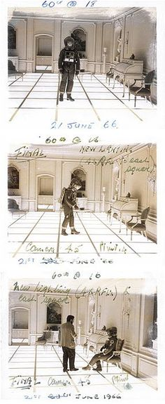 Stanley Kubrick used storyboards for certain aspects of his work, at other times he used photos. He liked to use photos as a way to illustrate directly from costumes and locations. He also encouraged their use as a way to illustrate lighting and other effects that he used.