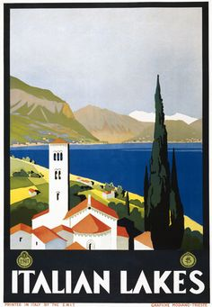 Vintage 1930's Italian Lakes Travel Poster