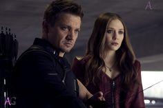 Jeremy Runner as Hawkeye on the left and Elizabeth Olsen in Captain America: Civil War.