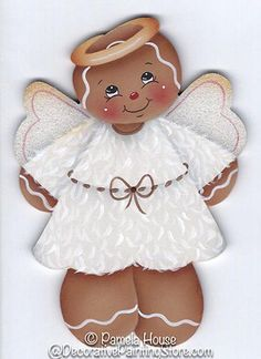 The Decorative Painting Store: Lil' Ginger Angel Pattern, Newly Added Painting Patterns / e-Patterns Gingerbread Ornaments, Gingerbread Decorations, Christmas Gingerbread, Christmas Wood, Christmas Projects, Holiday Crafts, Christmas Decorations, Christmas Ornaments, Nail Art Noel