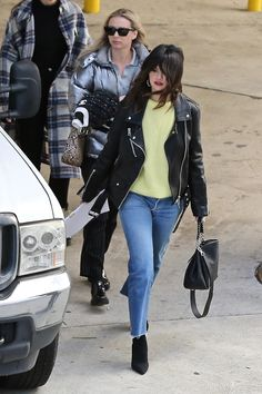 Selena Gomez shows rocker chic style in black motorcycle jacket in LA Selena Gomez Photos, Selena Gomez Style, Black Leather Motorcycle Jacket, Leather Jacket, Biker, Rocker Chic Style, Autumn Street Style, Winter Fashion Outfits, Black Boots