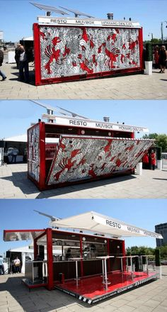 FoodTruck und Streetfood Ideen mit flexhelp Foodtruck Marketing www.de Food Trucks FoodTruck und Streetfood Ideen mit flexhelp Foodtruck Marketing www. Café Container, Container Home Designs, Container Architecture, Container Buildings, Folding Architecture, Architecture Design, Coffee Shop Design, Cafe Design, Shipping Container Homes