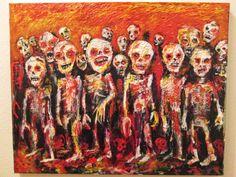 Hordes # 310  original art  by jack larson  16x20 acrylic on canvas