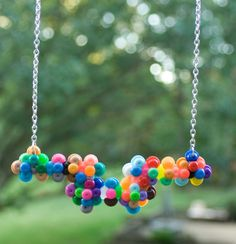 Handmade Multicolored Plastic Bead Statement Necklace