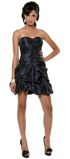 Sexy Jeweled Strapless Black Cocktail Dress With Short Pick Up Skirt $54.99