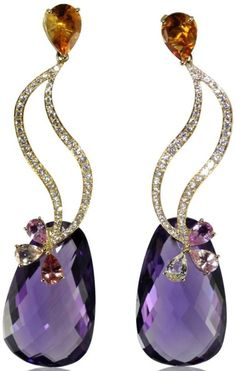 18K Yellow gold earring with Amethyst, Citrine, Multicolor Sapphire and white Diamonds by L.S.