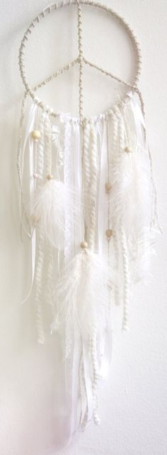 pure white dream catcher --  very nice!   Inspiration: web the top portion and add small white pearls and clear crystals.