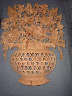 Camphor Wood #sculpture by #sculptor SM Chen titled: 'Flower Vase Panel (Big Carved Wood Chinese Wall sculptures)'. #SMChen
