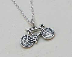 Bike Necklace, Sterling Silver, Bicycle, Mountain Bike,Antique Bike Charm,Antique Bike Pendant, Sterling Silver Bike - pinned by pin4etsy.com