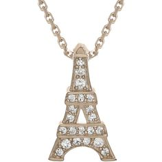 Diamond-Accent 10K Rose Gold Eiffel Tower Mini Pendant Necklace ($417) ❤ liked on Polyvore featuring jewelry, necklaces, accessories, long pendant, cable chain necklace, rose gold necklace, diamond accent necklace und rose gold necklace pendant