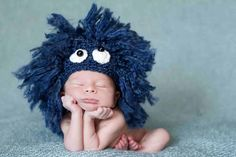 ETSY - Blue Newborn Baby Hat - Sesame Street Cookie Monster - Photography Prop - Costume - Animal - Fluffy - too cute!!!