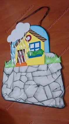 Casa firmada na Rocha_depois da tempestade Bible Crafts For Kids, Vbs Crafts, Diy And Crafts, Bible Stories, Stories For Kids, Action Songs, Material Didático, Language School, Sunday School Crafts