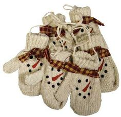 Make Some Like These in CROCHET!  ~ Knitted Snowman Face Mittens