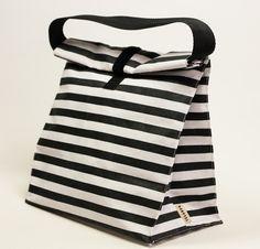 Striped white and black bag. Reusable lunch bag for women, men, kids