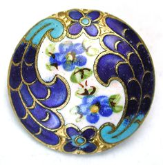 Antique French Enamel Champleve Border Hand Paint Cornflowers 7/8 inch Pretty!