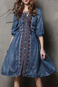 Embroidered Single-Breasted Midi Denim Dress