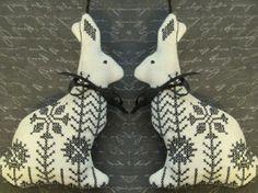 Blackwork Garden Rabbit Easter Ornament by CherieWheeler on Etsy, $12.00