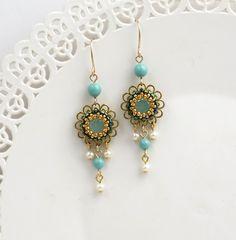 Flower dangle earrings, Spring earrings, Romantic earrings, Turquoise chandelier earrings, Vintage style earrings, Gift for sister jewelry by LioraBJewelry on Etsy https://www.etsy.com/listing/271492853/flower-dangle-earrings-spring-earrings