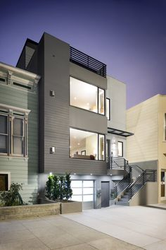 Great modern infill home by a Cal Poly Architect - Y. Modern Townhouse, Townhouse Designs, Duplex, Houses Architecture, Residential Architecture, Interior Architecture, Modern Exterior, Exterior Design, Narrow House
