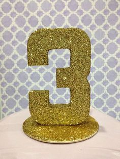 Gold glitter number at a pink and gold princess birthday party! See more party planning ideas at CatchMyParty.com!