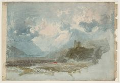 Dolbadern Castle by Joseph Mallord William Turner (Painting ID: Famous Watercolor Artists, Watercolor Landscape Paintings, Abstract Landscape, Joseph Mallord William Turner, Covent Garden, Art Romantique, Turner Watercolors, Turner Painting, English Artists