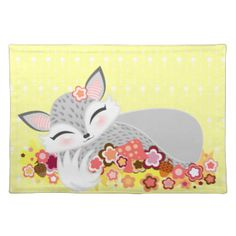 This sweet & stylish placemat features an adorable fox cub sleeping on flowers - a great gift idea! Click CUSTOMIZE to change the background to any color you'd like... or to add your own text #cute #placemat #dining #table #place #setting #fox #stylish #cub #baby #woodland #pink #pattern #foxes #illustration #vector #cartoon #gift #for #her #kawaii #cafe #restaurant #diner #housewarming #pretty #girly #trendy #sleepy #flowers #mushroom #acorns #child #kid #kids #children #toddler #gray #grey…