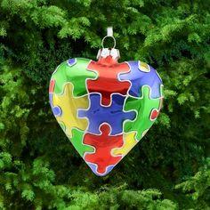 Puzzle Piece Glass Heart Ornament
