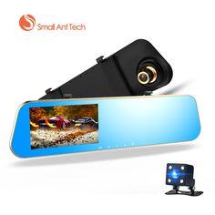 Full HD 1080P Car Dvrs Rear View Mirror With Dual Lens Camera Night Vision Dash Cam dvr Digital Video Recorder with 8 G Card