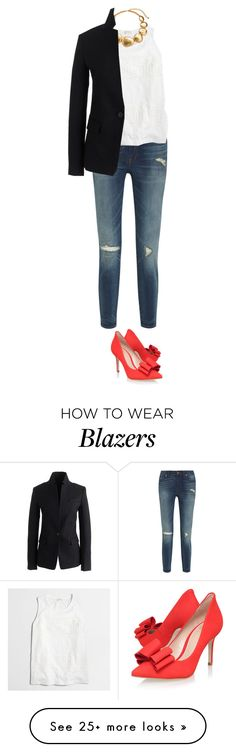 """""""OOTD - black blazer, high rise skinny jeans, white lace, and red heels"""" by wrymommy on Polyvore featuring Madewell, J.Crew, KG Kurt Geiger and Kenneth Jay Lane"""