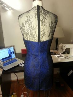 Blue wool pencil dress with black lace overlay & illusion (back)