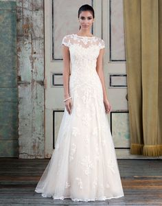 Justin Alexander signature wedding dresses style 9782 Beaded Venice lace and tulle Slim A-line accented with a sabrina neckline.