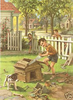 """Little Boy Building Doghouse"" Print by George Hinke (1955)"