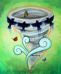 Beautiful Disaster 8x10 Art Print tornado with by CinamonSquirrel (Art & Collectibles, Prints, Digital Prints, reproduction, acrylic, painting, surreal, illustration, butterflies, birds, clouds, tornado, cyclone, storm, beautifl, disaster)