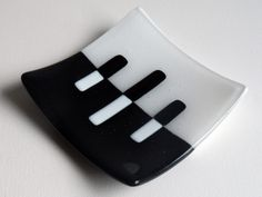 DISH  Black and White Sushi Plate 5.5 x 5.5 by AjMcKeeFusedGlass, $30.00