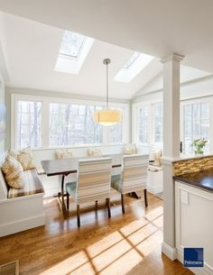 dining room/sunroom, eating area, windows, just off of kitchen